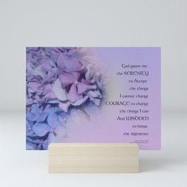 Serenity Prayer Hydrangeas Harmony Lavender Mini Art Print