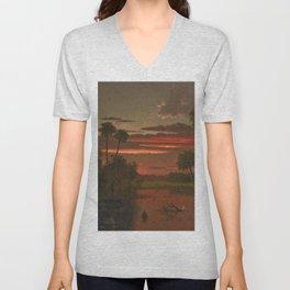 The Great Florida Sunset by Martin Johnson Heade Unisex V-Neck