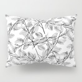 Delicate Leaves In Black And White Pillow Sham