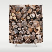 pocket fuel Shower Curtains featuring WOODEN FUEL by Connor Merrick