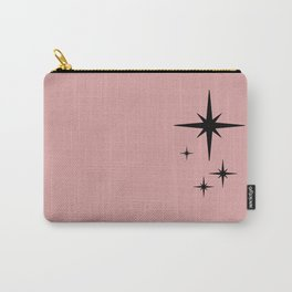 Atomic Age Retro Starburst Pattern in Black and 1950s Pink Carry-All Pouch