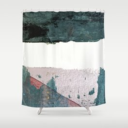 Between Us: a minimal, abstract mixed-media piece in blues, muted purple, and pinks Shower Curtain