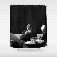 cafe Shower Curtains featuring Paris cafe by Natalia Wisniewska