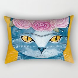 Frida Catlo in Blue Rectangular Pillow