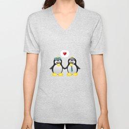 Penguin love for cute couples Unisex V-Neck