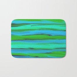 Apple Green, Seafoam, and Azure Blue Stripes Abstract Bath Mat
