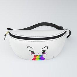 Kawaii Kitty Rainbow Face Fanny Pack