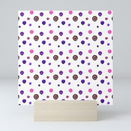 Vintage Buttons in blue And Pink, a fun 3D style repeating pattern Mini Art Print