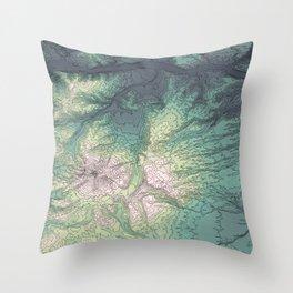 Mount Hood, Oregon Topographic Contour Map Throw Pillow