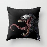venom Throw Pillows featuring Venom by Midu