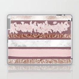Girly Pink Purple Glitter Rose Gold Brushstrokes Laptop & iPad Skin