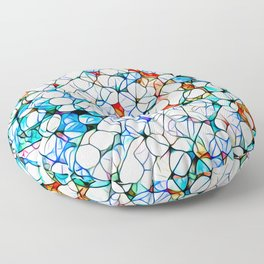 Glass stain mosaic 4 - dots & checkers Floor Pillow