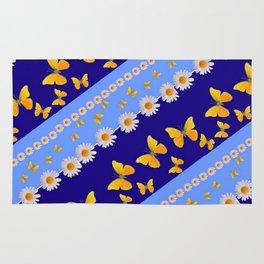 BLUE ART YELLOW BUTTERFLIES & WHITE DAISIES  DIAGONAL STRIPES Rug