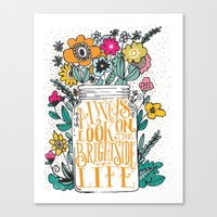 bright Canvas Prints featuring ALWAYS LOOK ON THE BRIGHT SIDE... by Matthew Taylor Wilson