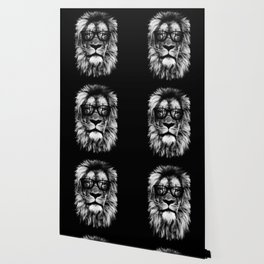Hipster Lion Black Wallpaper