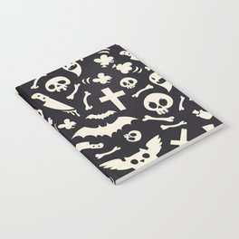 Halloween Symbols Pattern Contrast Notebook