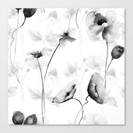 Seamless pattern with Decorative summer flowers Canvas Print
