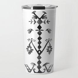 Tree of Life Black White Tribal Ethnic Kilim Motif Travel Mug