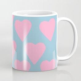 Hearts Pink on Blue Coffee Mug