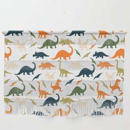 Dinos in Pastel Green and Orange Wall Hanging