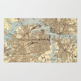 Vintage Norfolk & Portsmouth Virginia Map (1944) Rug