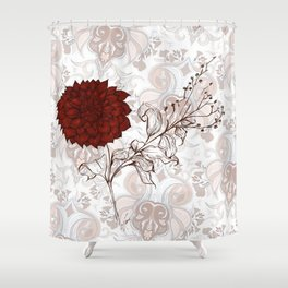 Aries Dahlia in red - Contemporary Botanical dahlia, fire, aries, botany, art, design, nanjing, sign Shower Curtain