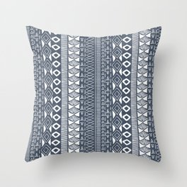 Adobe in Navy Blue and White Throw Pillow