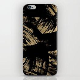 Elegant black faux gold modern brushstrokes pattern iPhone Skin