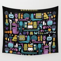 monsters Wall Tapestries featuring MONSTERS by Piktorama