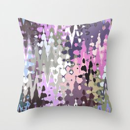 Violet shades icicles, abstract geometric jagged shapes, sharp forms Throw Pillow