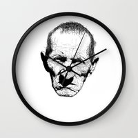 grumpy Wall Clocks featuring Mr. Grumpy by Tom Kitchen