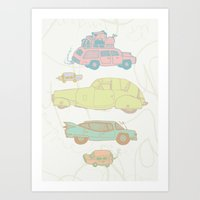 cars Art Prints featuring Cars by Lena P Illustration