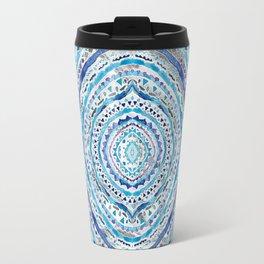 Blue & Gray Mandala Marbling Travel Mug
