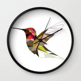 Hummingbird  Geometric bird art Triangles artwork Wall Clock