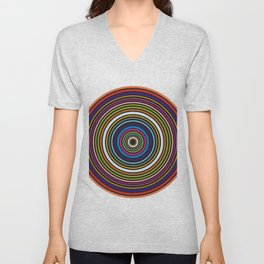 Colorful centered circles on white Unisex V-Neck
