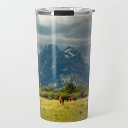 Horses and the Grand Teton Travel Mug