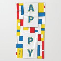 Happy Mondrian Beach Towel