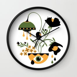 Sad Funky Flowers Wall Clock
