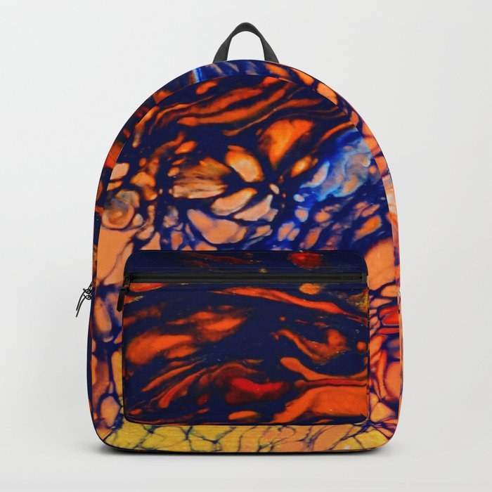 Fire Color Abstract | Red Orange Yellow Blue | Poured Soul Art Backpack