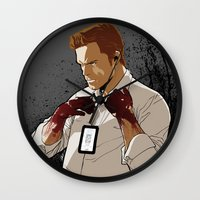dexter Wall Clocks featuring Dexter by Elena Casagrande