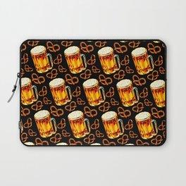 Beer & Pretzel Pattern - Black Laptop Sleeve