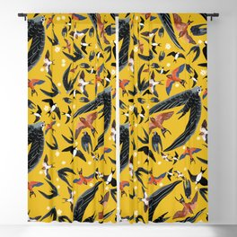 Swallows Martins and Swift pattern Yellow Blackout Curtain