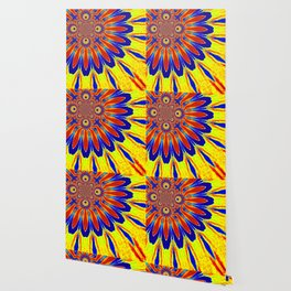 The Modern Flower Primary Colors Wallpaper