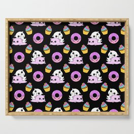 Cute funny Kawaii chibi pink little playful baby kittens, happy orange sweet donuts and adorable colourful yummy cupcakes pattern design. Nursery decor ideas. Serving Tray