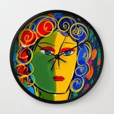 The Green Yellow Pop Girl Portrait Wall Clock