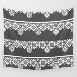 White seamless lace pattern on gray background Wall Tapestry