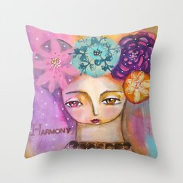 Harmony- inspirational art girl Throw Pillow