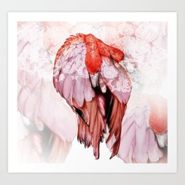 Pink Flamingo Handpaint Art Print