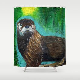 Otter Glow Shower Curtain