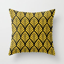 Tangiers Luxurious Black and Gold Art Deco Pattern Throw Pillow
